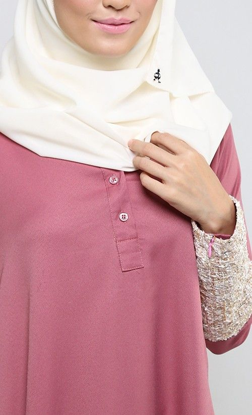 La Chanelia 2.0 Abaya in Mauvewood Pink   FashionValet