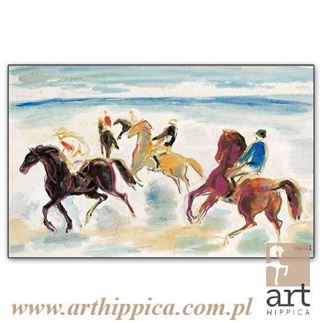 Horse - Painting - Holler Josef | PRZED STARTEM 2 | A painting by Josef Holler. Signature: Josef Holler; Technique: watercolor; Dimensions: 59 x 40 cm; Exhibitions: Czech Parliament, Millennium gallery – Prague.
