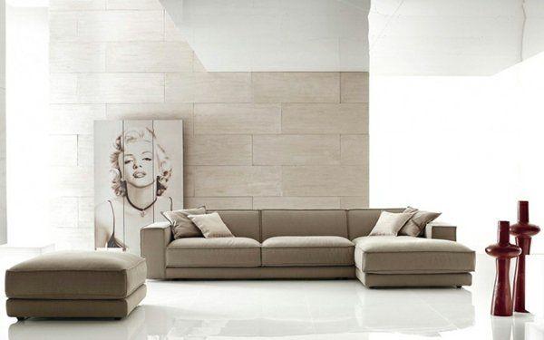 Natural stone wall in the living room beige sandstone tiles corner sofa
