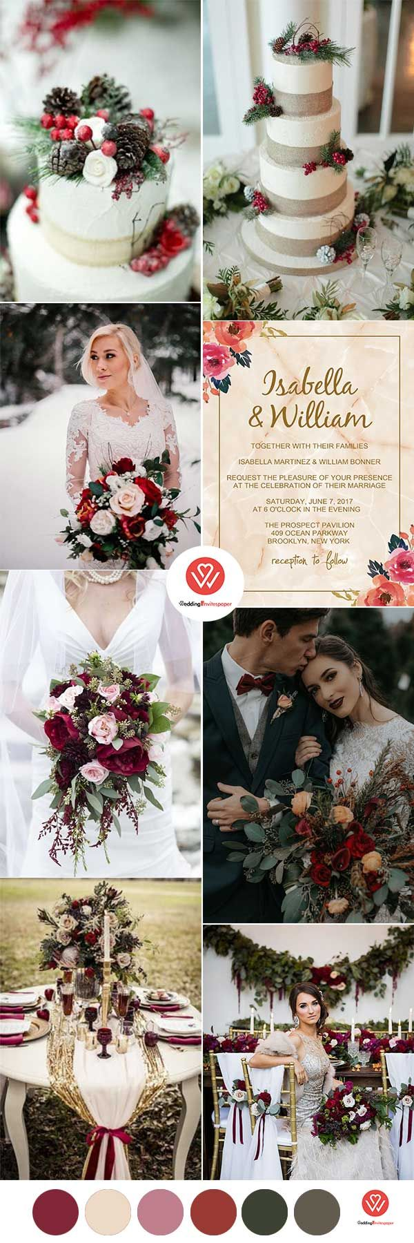WEDDING COLORS: BREATH-TAKING RUSTIC CHIC CHRISTMAS WEDDING COLOR COMBOS - Wedding Invites Paper rustic chic pine winter wedding cake toppers/ burgundy winter wedding bouquets/ modern marble wedding invitations