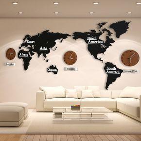 0996b7c677b Barato Hot Venda Criativa Relógio de Parede Mapa Do Mundo De Madeira 3D  Tamanho Grande Adesivo