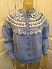Vintage Handknit In Norway Womens Wool Sweater Cardigan Blue Cream Fair Isle