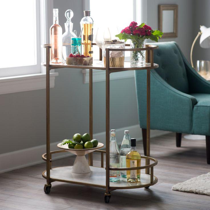 Belham Living Toscano Oval Bar Cart w/ Marble Shelves - Serving Carts at Hayneedle