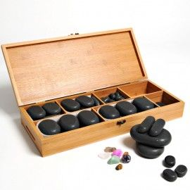 Hot Stone Set   64 pc Available from ViVi Therapy, Victoria, BC.  www.vivitherapy.com
