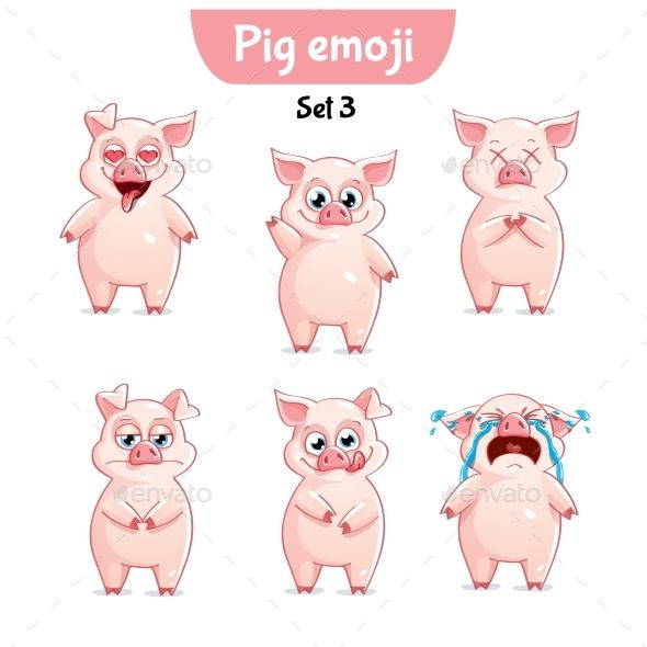 Vector Set of Pig Characters. Set 3