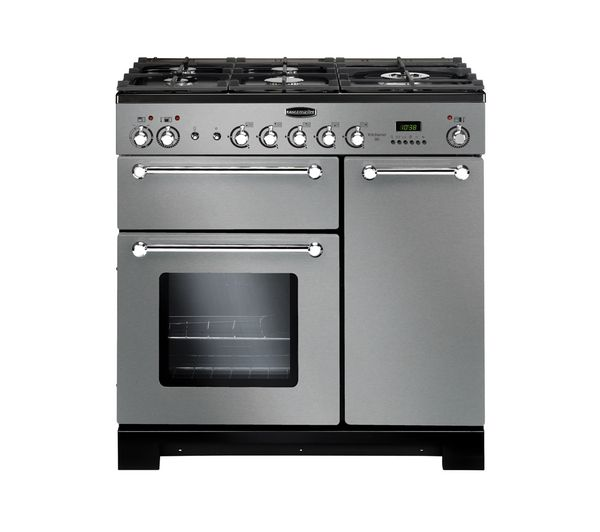 Buy RANGEMASTER Kitchener 90 Dual Fuel Range Cooker - Stainless Steel & Chrome | Free Delivery | Currys