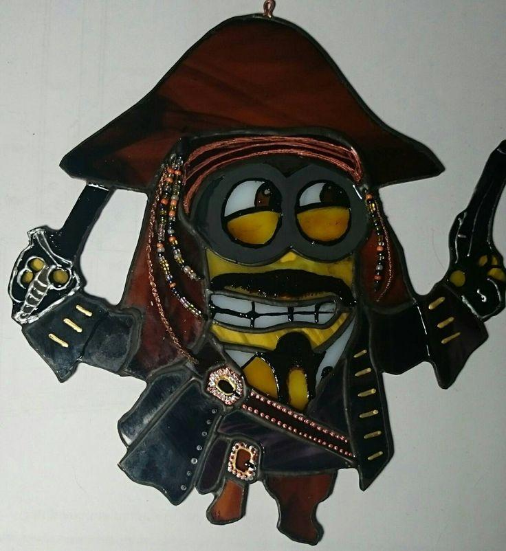 Suncatcher Minion - Captain Jack Sparrow by TheStainedGlassCo on Etsy