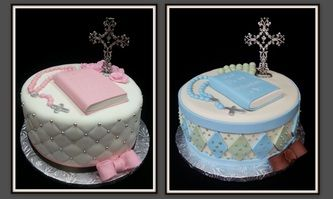 First holy communion cakes with cross, rosary, bible and bows.  Nebraska