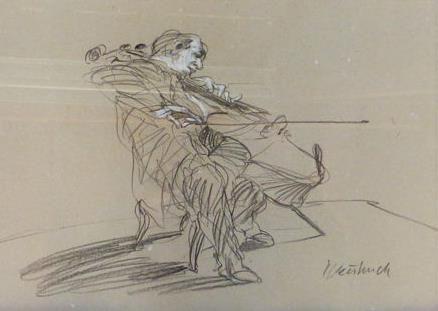 Claude Weisbuch - Untitled  Claude Weisbuch (1927-2014) - Le violoncellisteOriginele grafiet en pastel puttend uit ruwe perkamentOndertekend rechtsonderGemonteerd onder de Marie-Louise (te bewaren).In nieuwstaatVel: 37 x 28 cmIngelijstGekocht in 2006 bij de galerie l'Estampe in Straatsburg en in datzelfde jaar omlijst door het huis Schl... BrusselZorgvuldig verpakt.Bijgehouden scheepvaartVoormalig student aan de Beaux-Arts van Nancy Claude Weisbuch hoogleraar gravure op de École des Beaux…