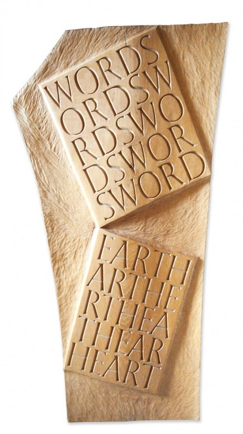 Wordsword - Eartheart by Martin Wenham. 122.5 x 62 x 2 cm. Carved Oak from Staunton Harold, Leicestershire