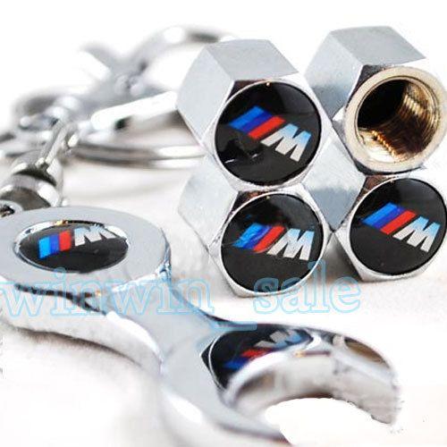 3 компл.///M Логотип Колеса Шины Шины Клапан Пыли Стебли Воздуха Заглушки Герб + Гаечного Ключа Брелок Брелок Fit для BMW