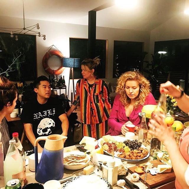 Hanging out with this band of originals last night at Ellen's  for a lively conversation over a vast and varied landscape. Let's just say we covered it all. — plus sungold tomato sauce (still inspired by @rosesluxury ) and a ragu for the ages. See y'all next month! @jaclynrjohnson @bobbyhundreds @jengotch @ivapawling @ellenmariebennett  #Regram via @jenibrittonbauer