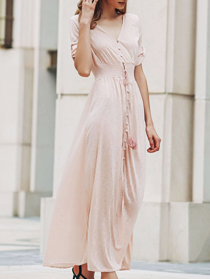 Pink Print V Neck Half Sleeve Maxi Dress PINK: Maxi Dresses | ZAFUL