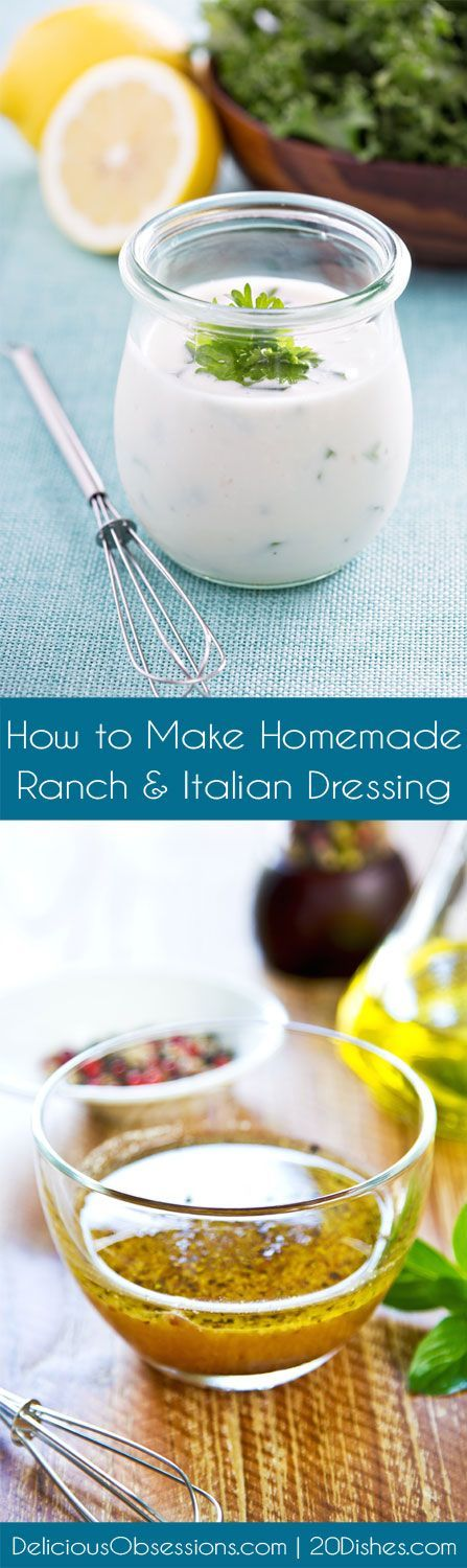 How to Make Homemade Ranch & Italian Salad Dressings :: Gluten-Free, Dairy-Free Option // deliciousobsessio... and 20Dishes.com
