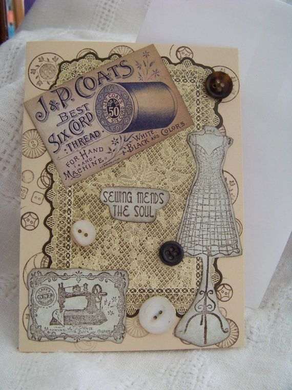 Vintage Style Sewing Card by TraceyAnns on Etsy, $4.25
