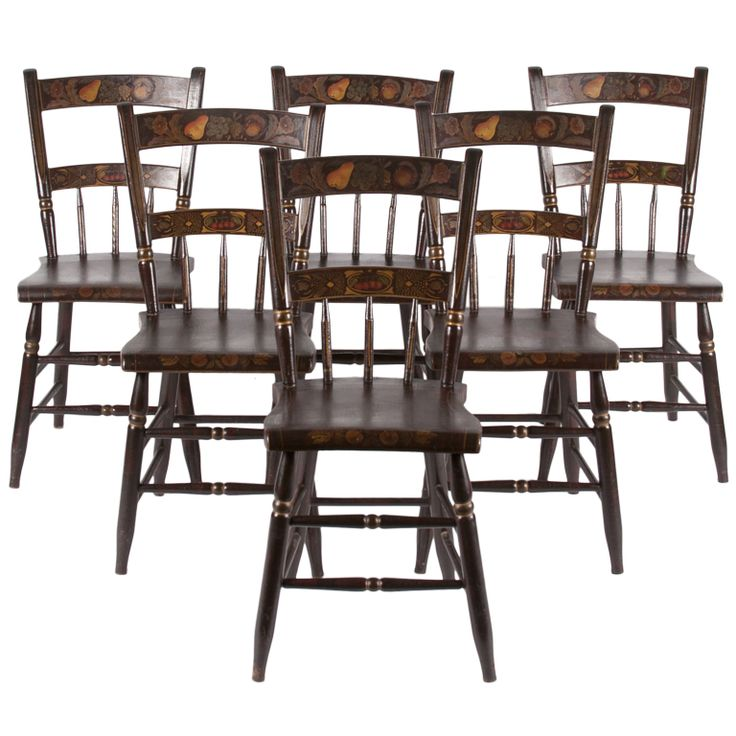 Antique Paint Decorated Chairs, Pennsylvania, 1845-66, Set of 6 |