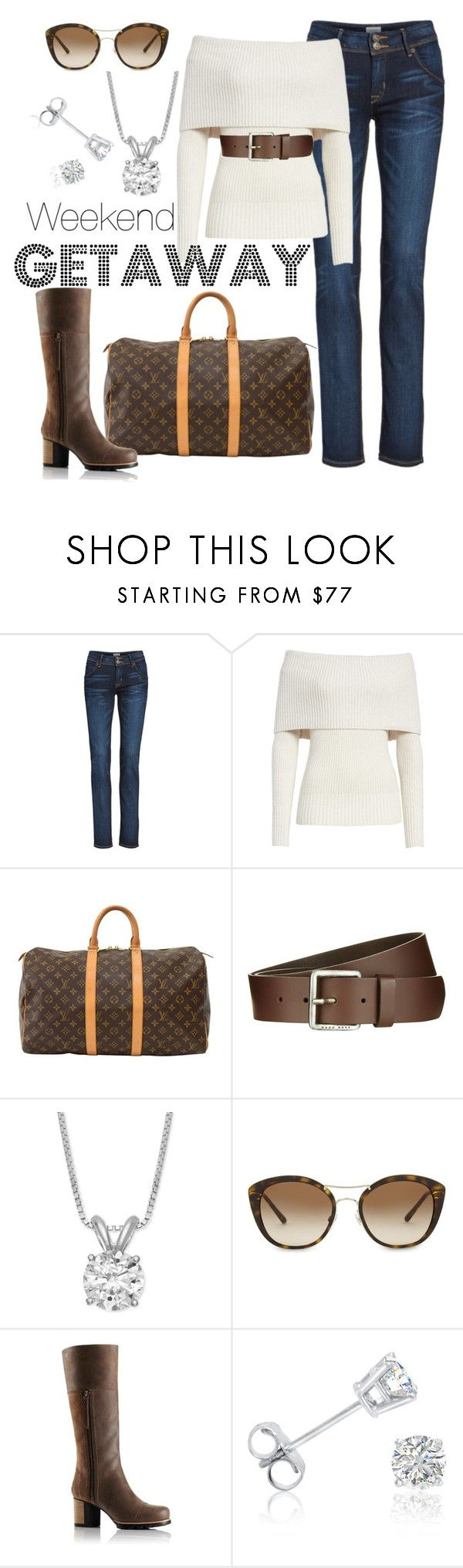 """#31"" by chris-boyce ❤ liked on Polyvore featuring Hudson Jeans, Rebecca Taylor, Louis Vuitton, BOSS Orange, Burberry, SOREL, Amanda Rose Collection, Boots and weekendgetaway"
