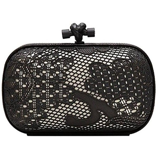 Preowned Bottega Veneta Black And White Lace Detail Knot Clutch Bag ($1,500) ❤ liked on Polyvore featuring bags, handbags, clutches, bolsa, white, white clutches, handbags clutches, white and black purse, metallic handbags and metallic clutches