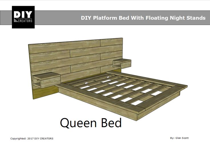 Queen DIY Platform Bed With Floating Night Stands