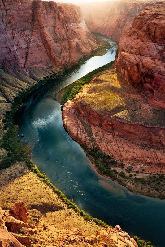 Horseshoe bend, Colorado River, Grand Canyon #Aerial #Bird's-eye view