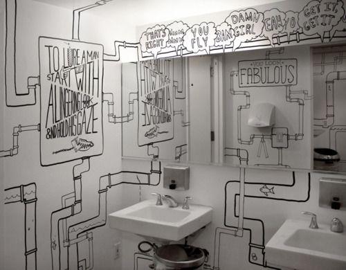 drawn bathroom: Decor, Wall Art, Idea, Big Mirror, Interiors, Wall Murals, Bathroom Wall, Lady Rooms, Wall Drawings