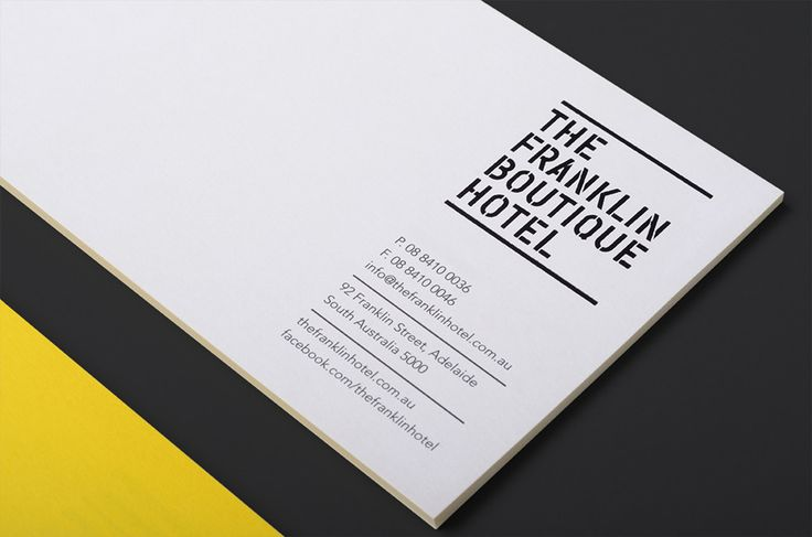 Logo and compliment slips with yellow edge painted detail designed by Band for The Franklin Boutique Hotel