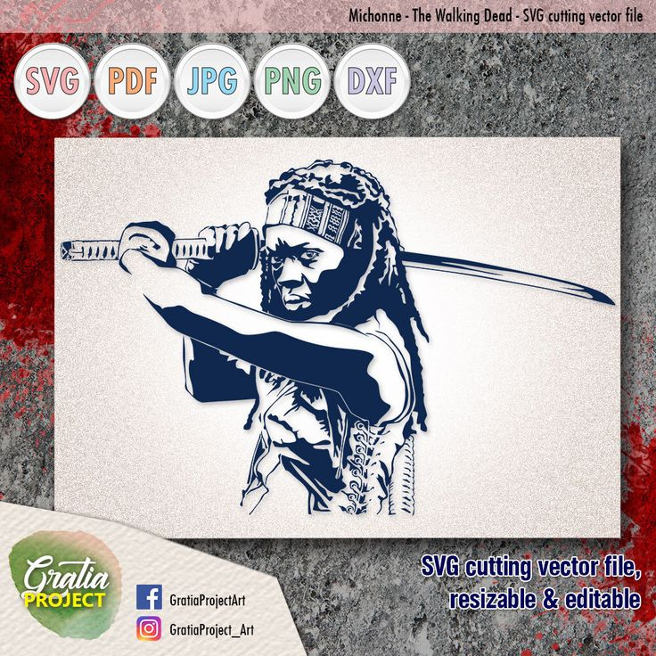 Excited to share the latest addition to my #etsy shop: Michonne Samurai The Walking Dead SVG Cutting vector file - digital clip art #drawing #art #svg #vector #clipart