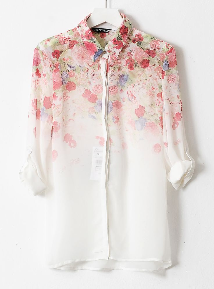 ombre floral printed chiffon blouse
