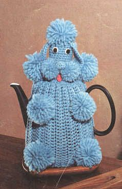 vintage knitting - poodle tea cozy. Reminds me of the pink wine bottle cover my MIL made back in the 1960s.