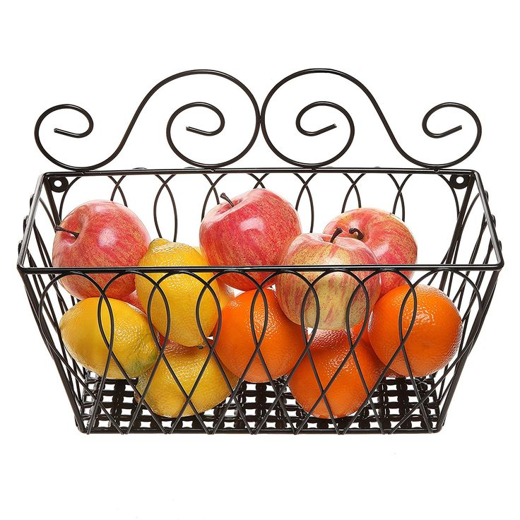 Wall Mounted Decorative Scrollwork Design Black Metal Wire Fruit Basket /  Home Storage Bin Rack   MyGift® MyGift // Hold Reading Books In The  Bathroom?