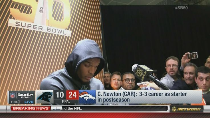 Cam Newton wasn't interested in answering questions following his team's Super Bowl loss.