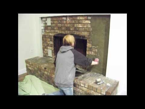 Refacing the brick fireplace using concrete by chic on - How to cover brick fireplace ...