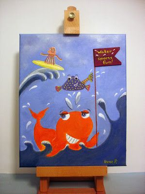 "GIVEAWAY ""Water Sports Fun"" mixed media painting for boy's or girl's room"