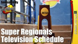 NCAA Division I Softball Championship: Super Regionals Television Schedule Announced  See the full schedule http://fastpitch.tv/ncaa-division-1-softball-super-regional-television-schedule  Please visit my website http://SoftballJunk.com/  Subscribe to the newsletter http://fastpitch.tv/newsletter