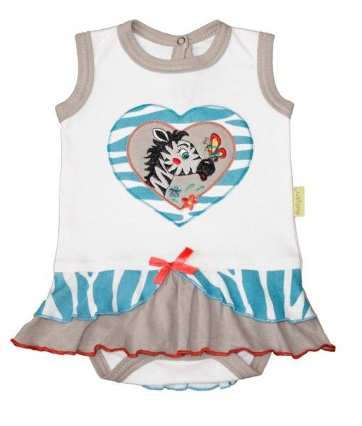 Fair trade crawler with embroidery of Zebra and Butterfly kissing. Available in sizes 3-6 months to 18-24 months.