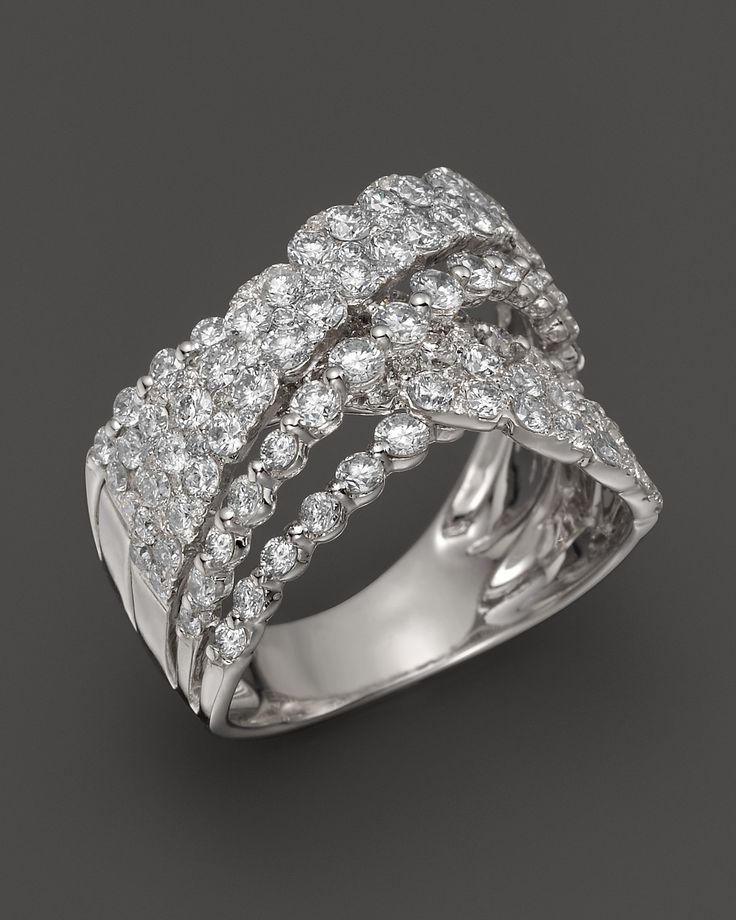 Cluster Bands: Diamond Cluster Crossover Band In 14K White Gold, 2.55 Ct