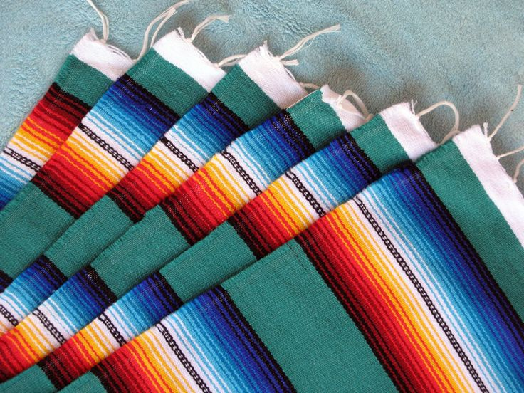 Serape Placemat Onws19-Teal Southwestern Southwest Mexican Style Fringed Set 6