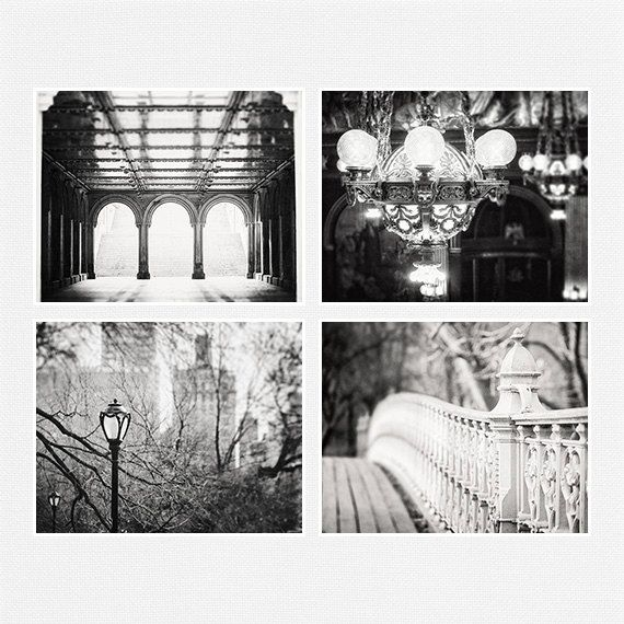 Black and white print set elegant city art urban photography vintage architecture pictures