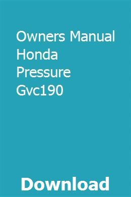 Owners Manual Honda Pressure Gvc190 download pdf
