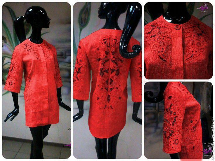 """Купить Пальто-жакет с ручной вышивкой """"Ришелье Коралл"""" льняное - коралловый, пальто, пальто купить"""