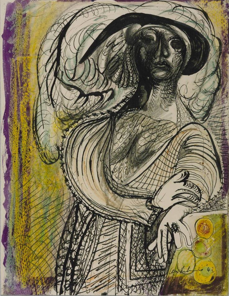 Ceri Richards (1903‑1971)  The Coster Woman,  1943   Ink, watercolour and gouache on paper  305 x 235 mm Collection Tate