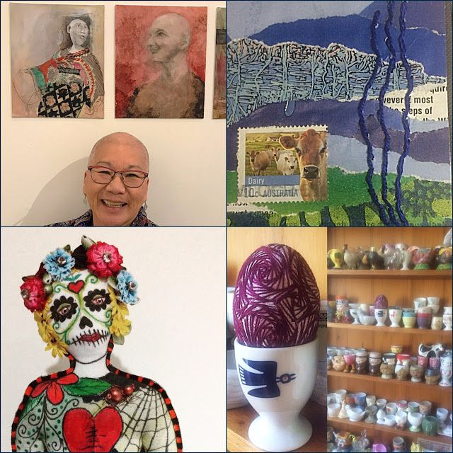 Arty Alphabet Days 1-5  A &B Art and Baldness  C Cow Collage  D Day of the Dead Doll  E Embroidered Egg and Egg Cups A blog about art, stitching, textile art, dolls, mixed media hand made art and inspiring places and people