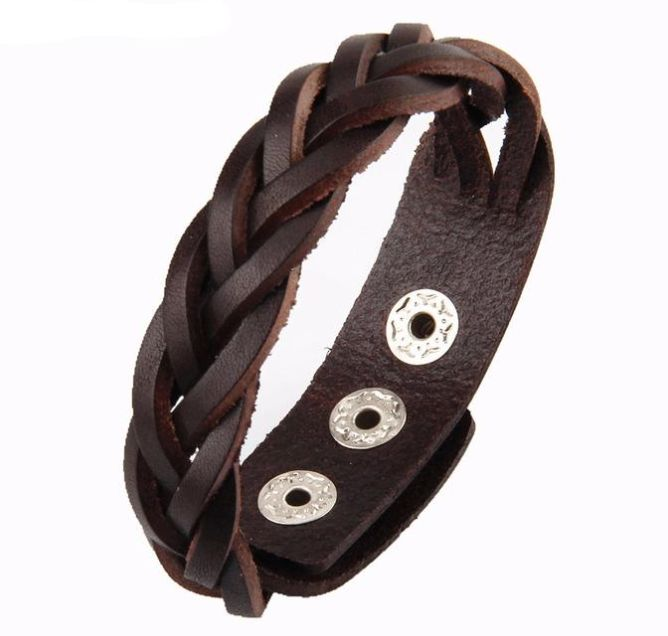 Beautiful hand woven, genuine leather mens armlet. For more fine wares visit www.tungstenandcarbide.com