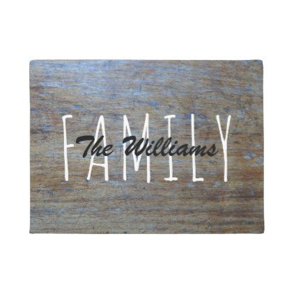#Rustic Country Wood | Family Name Monogram Doormat - #doormats #home & #living