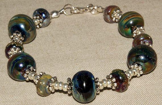 LAMPWORK  Ekho Glass 'Galaxy' Bracelet by SamMadeWithLove on Etsy, $35.00