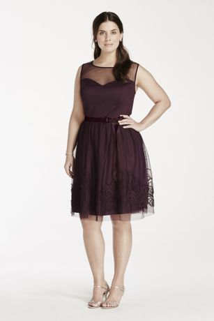 Ultra-feminine and beautifully detailed, this illusion neckline dress is absolutely lovely!  Sleeveless sweetheart bodice features chic illusion neckline.  Satin belt at waist helps create a stunning silhouette.  Intricate soutache skirt detail finishes off the look.  Designed by Eliza J.  Fully lined. Back zip. Imported polyester. Dry clean. Also available in Missy sizes as Style EJ4M6898.
