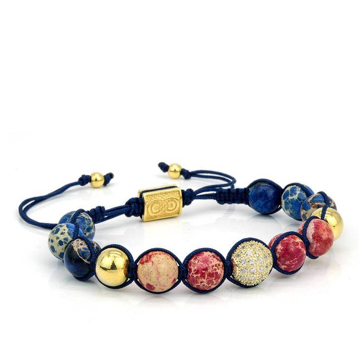 ROYAL | Unisex Shamballa Bracelet, Beaded Bracelet, 925 Sterling Silver, Cubic Zirconia Spacer, Gift for Him, Gift for Her, Anniversary Gift