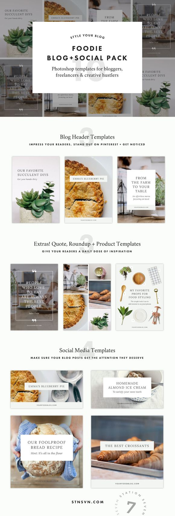 Foodie Blog + Social Pack by Station Seven on @creativemarket