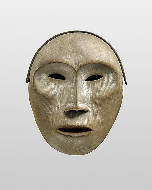 Yup'ik Face Mask \\ late 19th century \\ Alaska \\ Wood, pigment \\ Collected in late 19th century by Bishop Farhout, MacKenzie River area