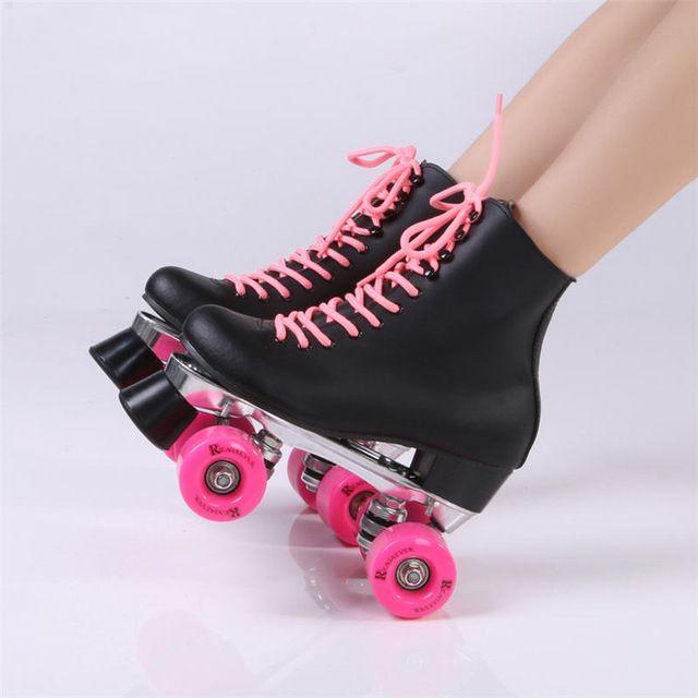 Reniaever rolo duplo patins genuíno couro com rosa PU Wheels duas Side Skate do rolo Patines senhora patins adultos sapatos de Skate